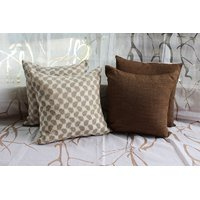Chanderi And Raw Silk Cushion Cover ( Set Of 4)