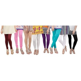 Bembee Multicolour Viscose Leggings - Pack of 8