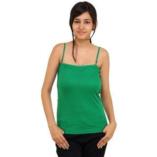 Boosah Dark Green Cotton Solid Camisole
