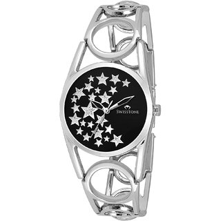 Swisstone DZL147-BLK Stainless Steel Bracelet Wrist Watch for Women