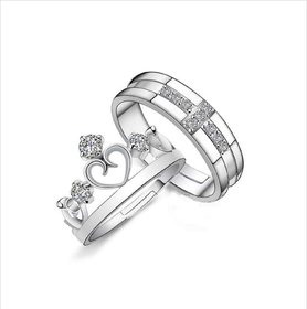 Extraordinary Sterling Silver   Elements Adjustable Couple Rings By Stylish Teens