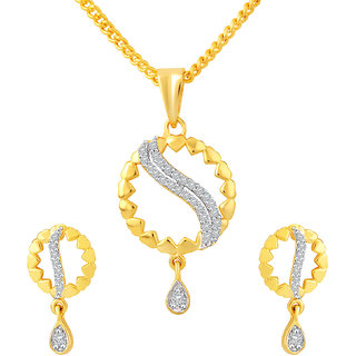 MJ Classic CZ Gold Plated Pendant Set For Women