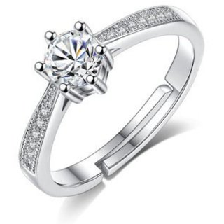 Sterling Silver Princess Design   Elements Adjustable Ring For Women  Girls