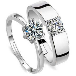 Attractive Sterling Silver   Solitaire Crystal Adjustable Couple Rings By Stylish Teens
