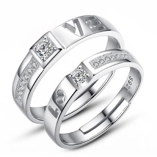 Glamourous Sterling Silver   Solitaire Adjustable Couple Rings By Stylish Teens