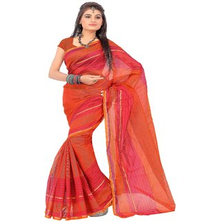Florence Orange Chittinaidu Silk Printed Saree with Blouse
