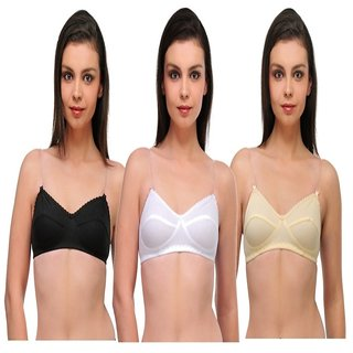 Oleva Transparent Strap Multicolor Full Coverage Pack Of 3 Bra Ovd-10002