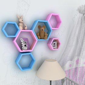 sunshinewood premium wood haxagon 6 shelves wall shelf -pinkblue unit 6