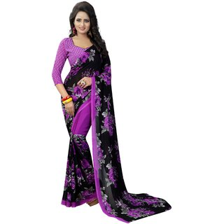 Ethnic Mall Floral Printed Super Georgette Saree