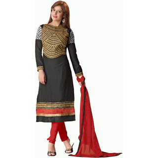 Florence Black Queen Embroidered Pure Cotton Suit