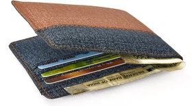 Choco Creations Men's Blue & Brown Formal Denim Bi-fold Wallet