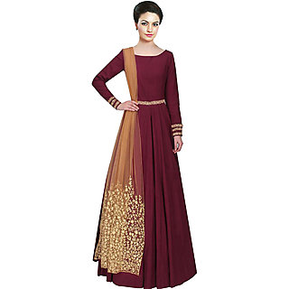 Greenvilla Designs Maroon Tafetta Silk Embroidery Anarkali Dress