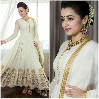 Greenvilla Designs White Banglori Silk Anarkali Dress