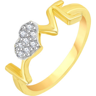 Vidhi Jewels Gold Plated LOVE Heart Diamond Studded Alloy & Brass Finger Ring for Women and Girls [VFR109G]