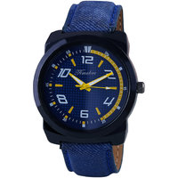 Timebre Round Dial Blue Leather Strap Men Quartz Watch