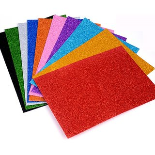 IMPRINTS Set Of 10 A4 Size Foam Glitter Sheets - For ArtCrafts Home Office Party Decorations Mix Colors