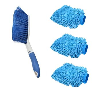 Carpet Brush Microfibre Wet and Dry Brush with 3 Microfiber Glove