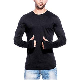 VOEUX INDIA Mens Fullsleeve Round Neck Black Cotton Tshirt