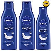 Buy 2 Nivea Body Milk Nourishing Body Lotion, 200ml  Get 1 Body Milk Nourishing Body Lotion 120 ml Free