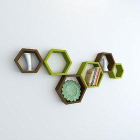 sunshinewood green and brown wall haxagon shelf no .of  6 shelvs unit green +brown
