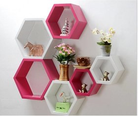 sunshine wood riving room home decor haxagon wall shelf unit - 6 pink and white