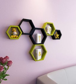 sunshinewood premium wood unit  wall shelf haxagon -green and black shelf - 6