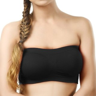 Briva Seamless Tube Bra for Girls and Women Black (Free Size)