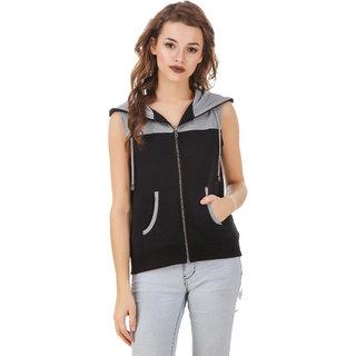Texco Grey,Black Hooded Sweatshirt for Women