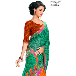 Vaishali georgette green Printed Saree with Blouse