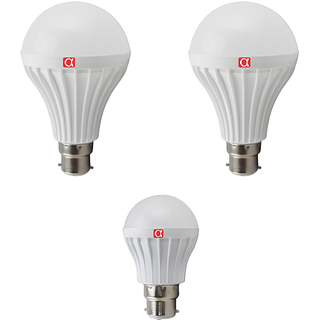 Alpha Led pack of 3 with 2 bulb  of 12 watt  and 1 bulb of 5 watt  with 1 year replacement warranty