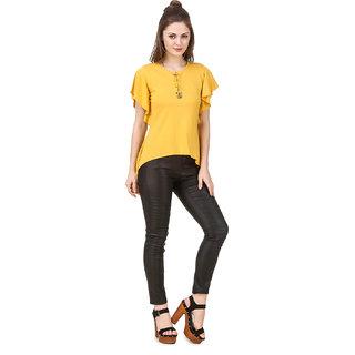 36e2ed59fd149 Texco Women S Yellow Butterfly Sleeve Drawstring Neckline Stylish Trendy Top
