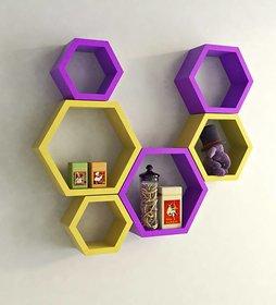sunshinewood premium wood haxagon shape wall shelf - yellow and purpile  6 shelves