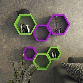 sunshinewood green and purpile  6 shelves wall shalf haxagon unit - 6 green and purpile