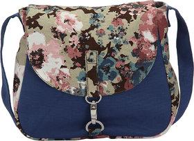 Vivinkaa Camo Blue Canvas Sling Bag for Women