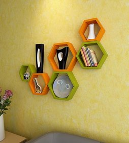 sunshine wood haxagon shaped yellow  green wall shelf unit  - 6