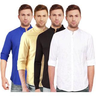 Black Bee Men's  Multicolor Regular Fit Casual Shirt (Pack of 4)