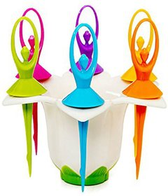 Kkart Fruit Fork in 6 Colorful Dancing Doll With Fork Stand kids special fruit fork
