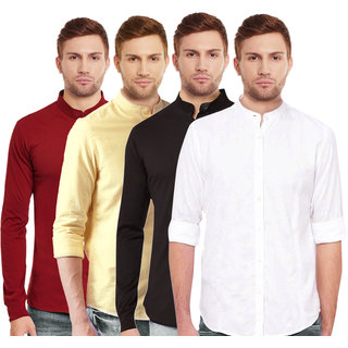 Black Bee Collar Regular Fit Poly-Cotton Shirt for Men Combo of 4
