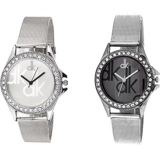 DK Stylish BLACK AND WHITE Dial Stainless Steel Strap Analog Watch - For Girls