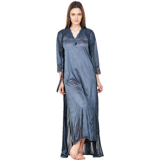 Boosah Grey Satin 1 Nighty and 1 Robe Set