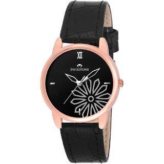 Swisstone VOGLR040 Black Leather Strap Wrist Watch for Women
