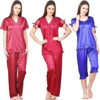 Boosah Women's Multicolour Satin Nighsuit Set - Pack of 3