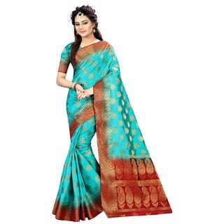 Snh Export Multicolor Jacquard Self Design Banarasi Saree With Blouse