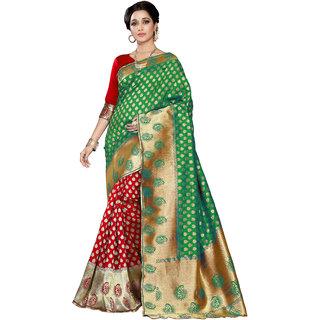 Snh Export Green Jacquard Self Design Banarasi Saree With Blouse