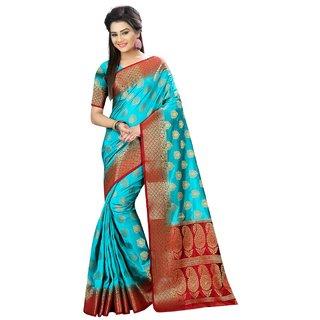 Snh Export Sky Blue Jacquard Self Design Banarasi Saree With Blouse