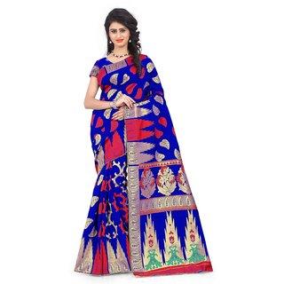 Snh Export Blue Jacquard Self Design Banarasi Saree With Blouse