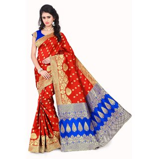 Snh Export Multicolor Jacquard Self Design Banarasi Saree With Blouse