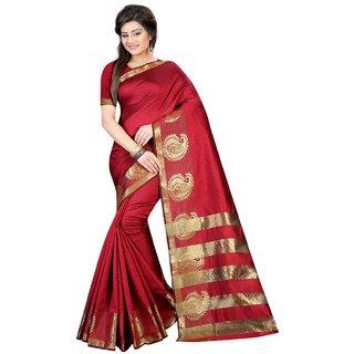 Snh Export Maroon Jacquard Self Design Banarasi Saree With Blouse