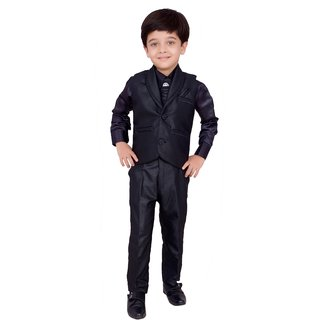 Boys Shirt Pant Waistcoat & Tie set - Party Wear - Black