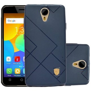 ECS Soft Matte Finish Line Back Case Cover For Micromax Bharat 4 Q440 - Navy Blue